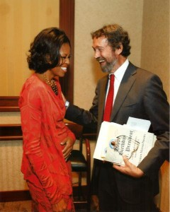 Tom with First Lady (laughing)